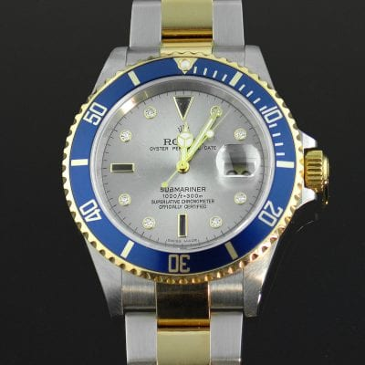 Blue and Silver Rolex Submariner 16803 Watch